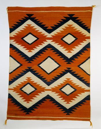 Navajo, Rug with diamond network design, Early Rug Period, c.1890-1910 Discovery Site United States Material Wool, 182 cm x 132 cm