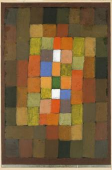 Static-Dynamic Gradation Date 1923 Material Oil and gouache on paper, bordered with gouache, watercolor, and ink Measurements H. 15, W. 10-1/4 inches (38.1 x 26.1 cm.)