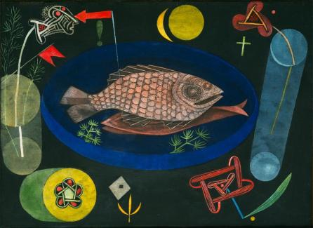"""Around the Fish Work Type Painting Date 1926 Material Oil and tempera on canvas mounted on cardboard Measurements 18 3/8 x 25 1/8"""" (46.7 x 63.8 cm)"""