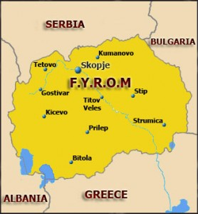 Former Yugoslav Republic Of Macedonia (FYROM) map