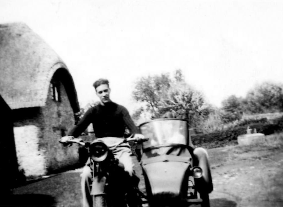 "August 1935. Jim Billings on the Rudge in ""The Opening"" of 14 Charney (Brook Cottage)."