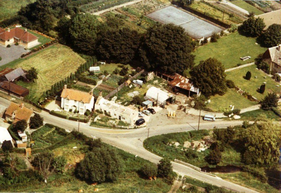 Aerial view of Threeways Garage 1965 [Christine & Alastair Leuker]