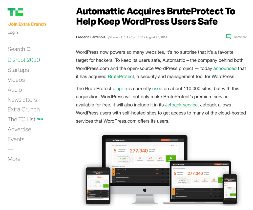 Screenshot of the TechCrunch article covering the acquisition of BruteProtect by Automattic, including Director of Innovation Jesse Friedman.
