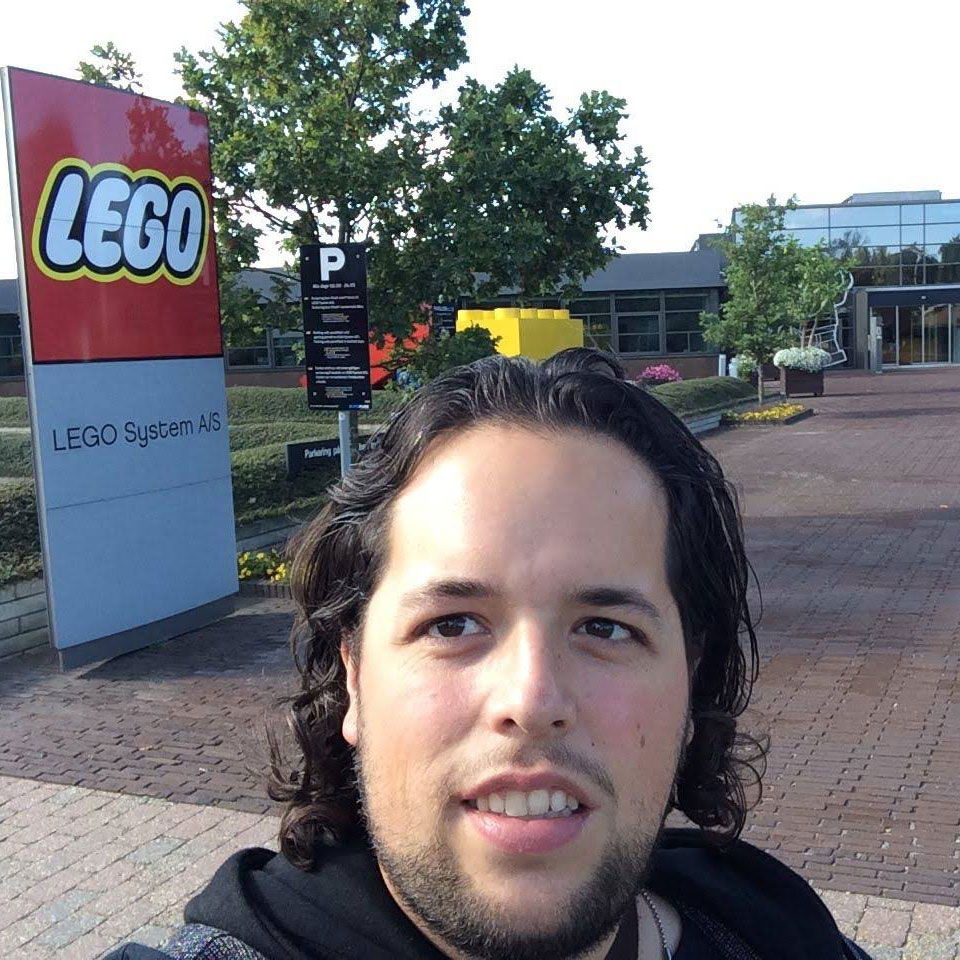Jesse Friedman standing outside the Lego Offices in Billund, Denmark