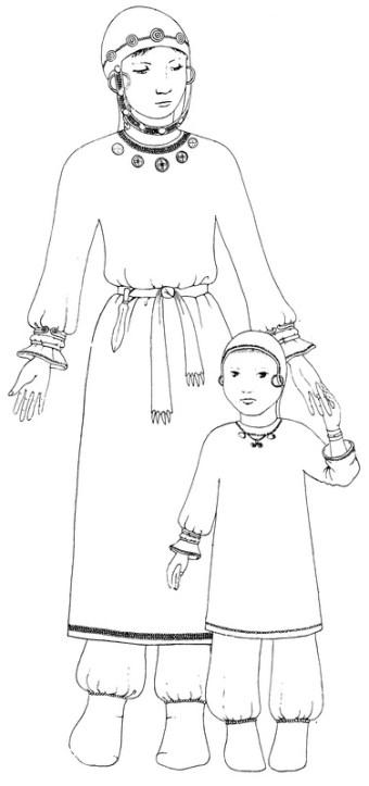 Реконструкция костюма женщины и ребенка (худ. А.Богатенкова)
