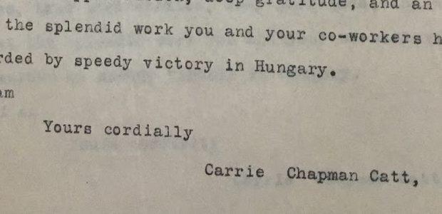 letter from Catt to Schwimmer 1913