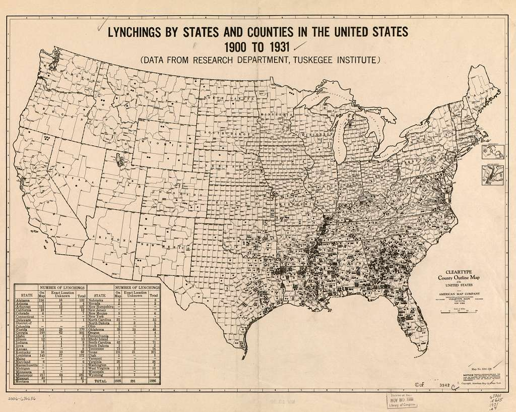 Map of lynchings by states and counties in the United States, 1900-1931
