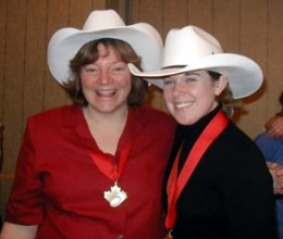 Beth Veale and Jodi Jensen at the Canadian Ringette Championships.