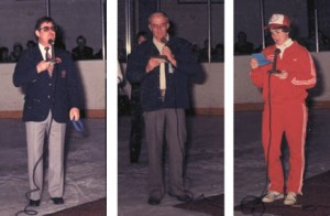 Calgary Mayor Ralph Klein (left) opened the ceremonies for the Provincial Playdowns, the late Orvil Anderson (centre) welcomed the teams on behalf of the tournament committee, and Linda Tippin (right) offered the athletes prayer.