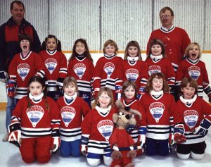 BOW VIEW WOLVES (Bunnies) 1987-88 Front Row: Sarah Warren, Erin Knight, Shannon Hutchison, Robyn Mann, Kim Stringer, Jenny Hutchison Middle Row: Nicole Willment, Kily Winkler, Shannon Tanaka, Jana Mushet, Whitney Watchman, Ria Clark, Erin Patrick Back Row: Charlie Willment (Coach), Steve Hutchison (Coach)