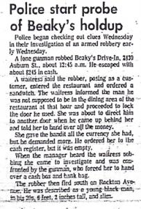 Police Start Probe Of Beaky's Holdup