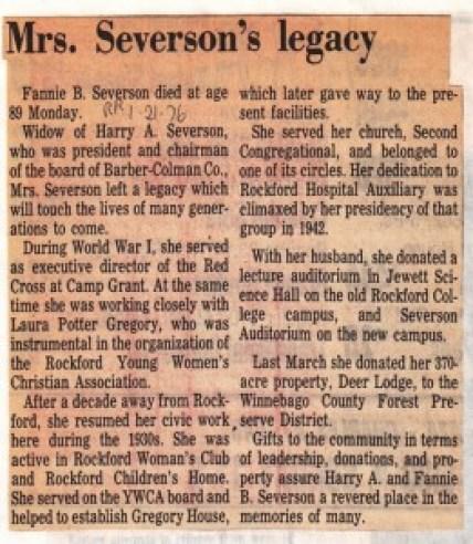 Severson, Fannie B - legacy