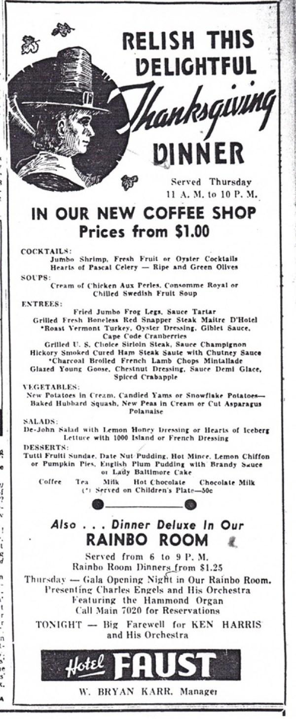 Thanksgiving 1939 advertisement