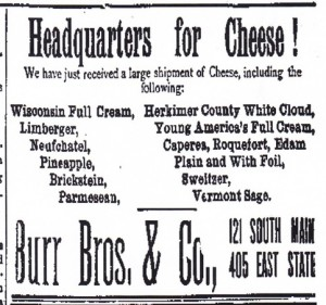 Burr Bros and Co. Cheese Sellers, 1892 Ad