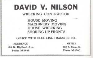 David V. Nilson Wrecking Company, 1930