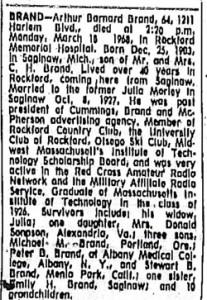 Arthur B. Brand Obituary 1968