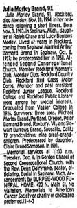Julia Brand Obituary, 1994