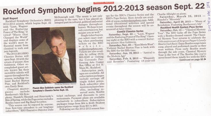 Rockford Symphony Orchestra 2012-2013 season