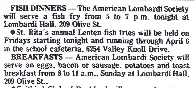 Lombardi Club fish fry