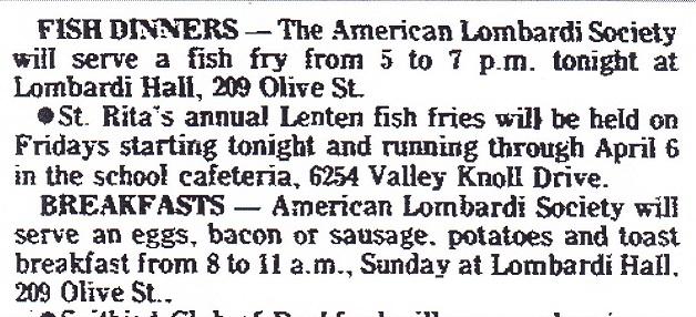 Lombardi Club fish fry