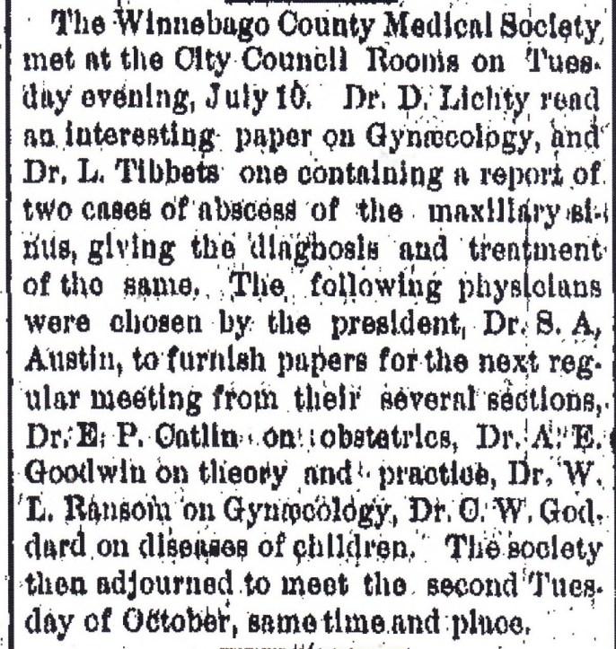 Winnebago Medical 1883