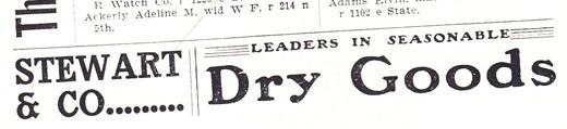 Stewart & Co. Dry Goods ad