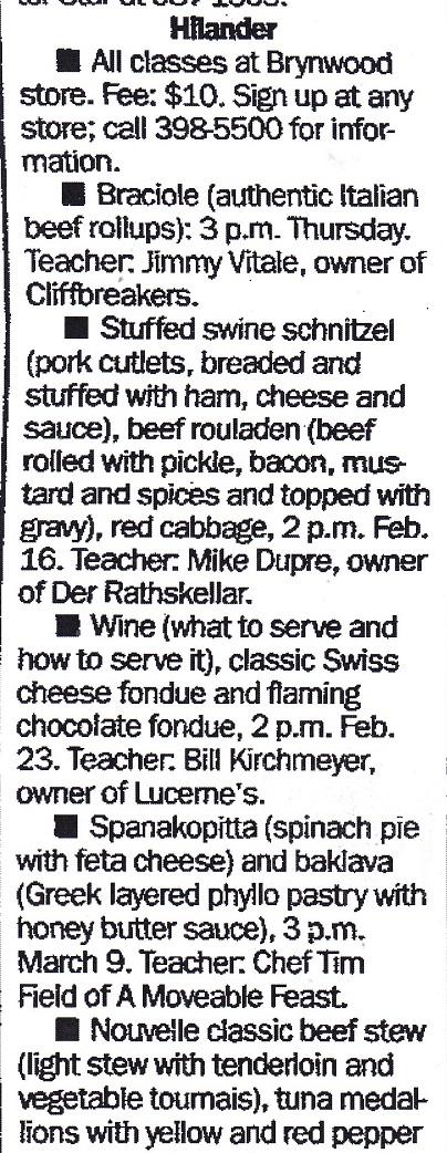 Hilander Cooking Classes