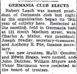 Germania Club Elects