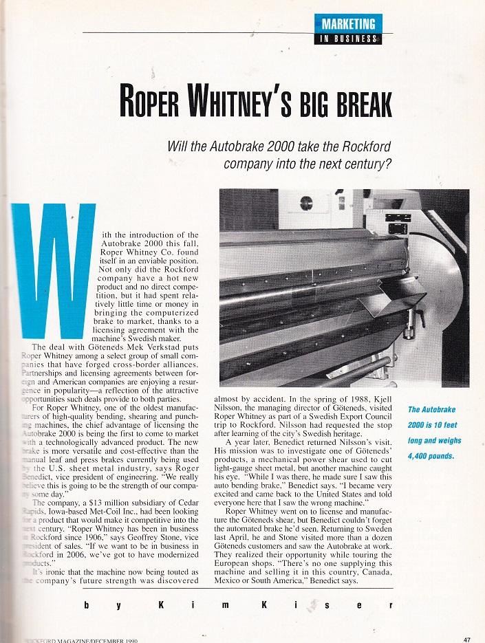 Roper Whitney Co. 1990