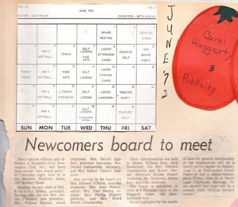 June 1972 Calendar Rpl S Local History