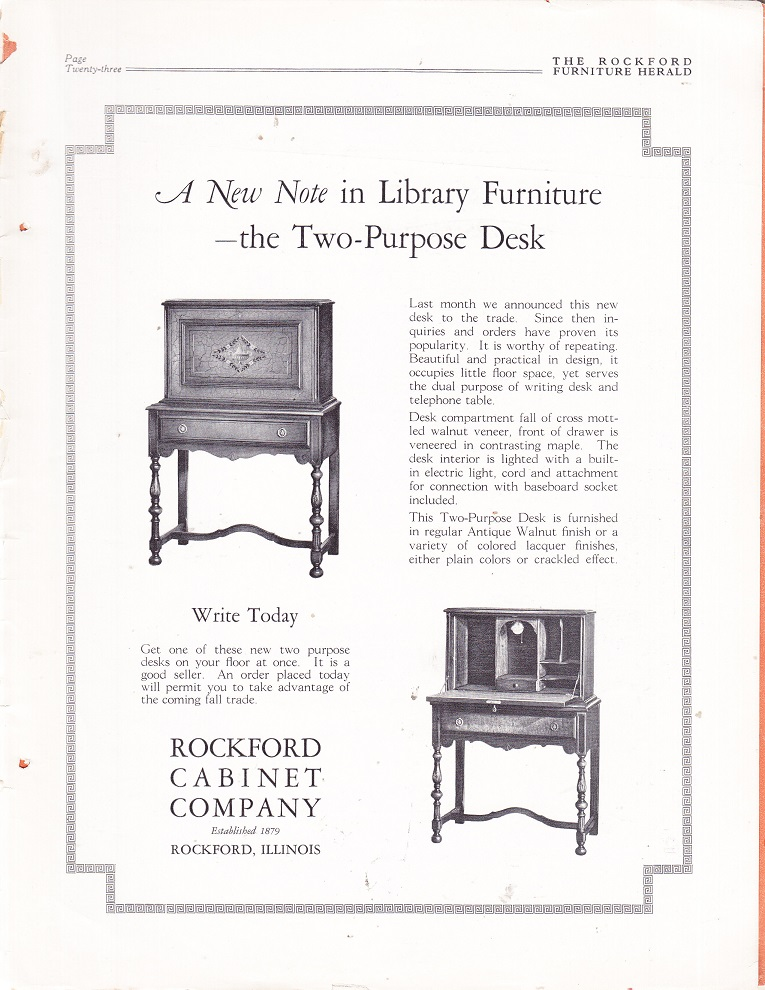 Bon Rockford Cabinet Co., Ad U2013 October 1926