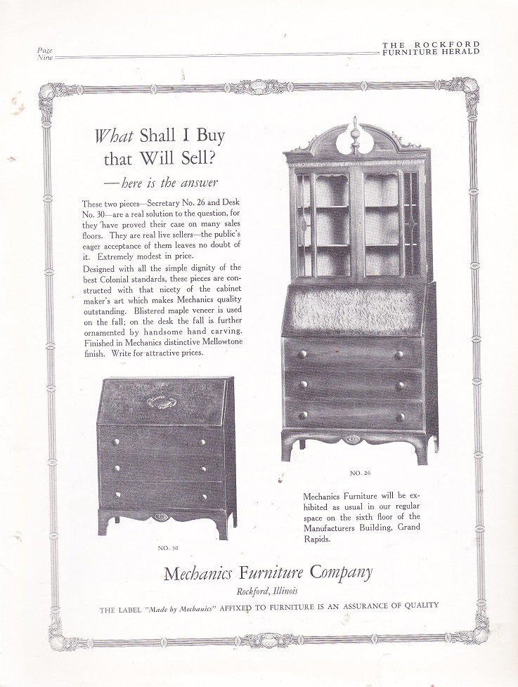 Mechanics Furniture Co., Ad U2013 Dec. 1926