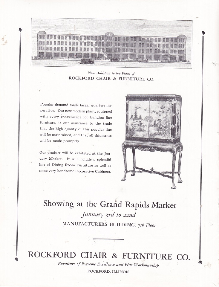 Rockford Chair And Furniture Co., Ad U2013 Dec 1926