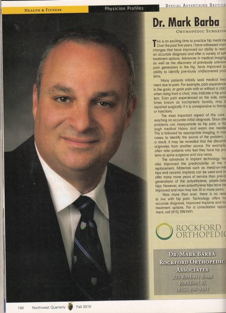 Dr  Mark Barba – 2010, Rockford Orthopedic Associates