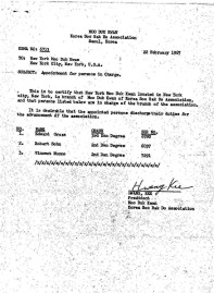 Designation Letter from the Founder/Kwan Jang Nim Hwang Kee, translation.