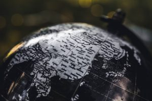 desk globe with eastern Asia showing