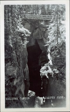 Maligne Canyon Jasper Park. Photographed and Copyrighted by J.A. Weiss, after 1930. http://peel.library.ualberta.ca/postcards/PC008308.html