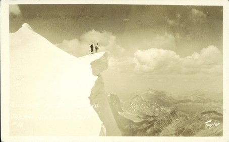 Summit Mt. Edith Cavell Jasper National Park. Photographed and Copyrighted by G. Morris Taylor, Jasper National Park, Canada, circa 1940. peel.library.ualberta.ca/postcards/PC014492.html