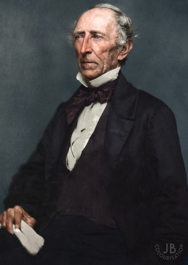 Color photograph of President John Tyler posing for a photograph. The image was colorized.