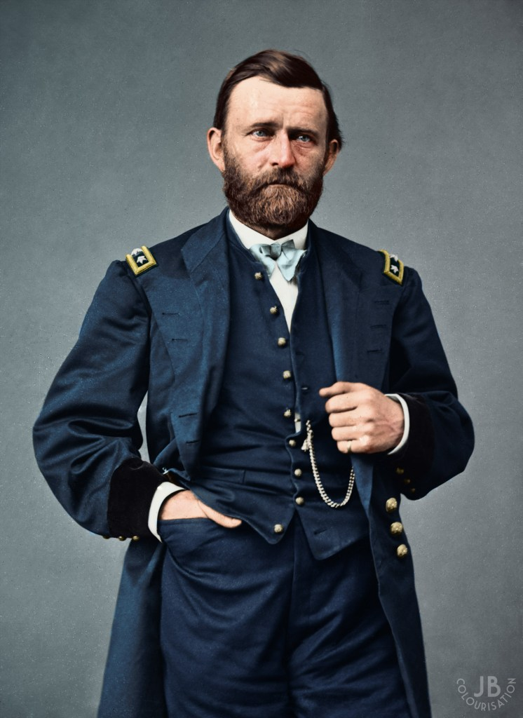 President Ulysses S. Grant, wearing his union army uniform as the photo was taken before he was president. The photo has been colorized.