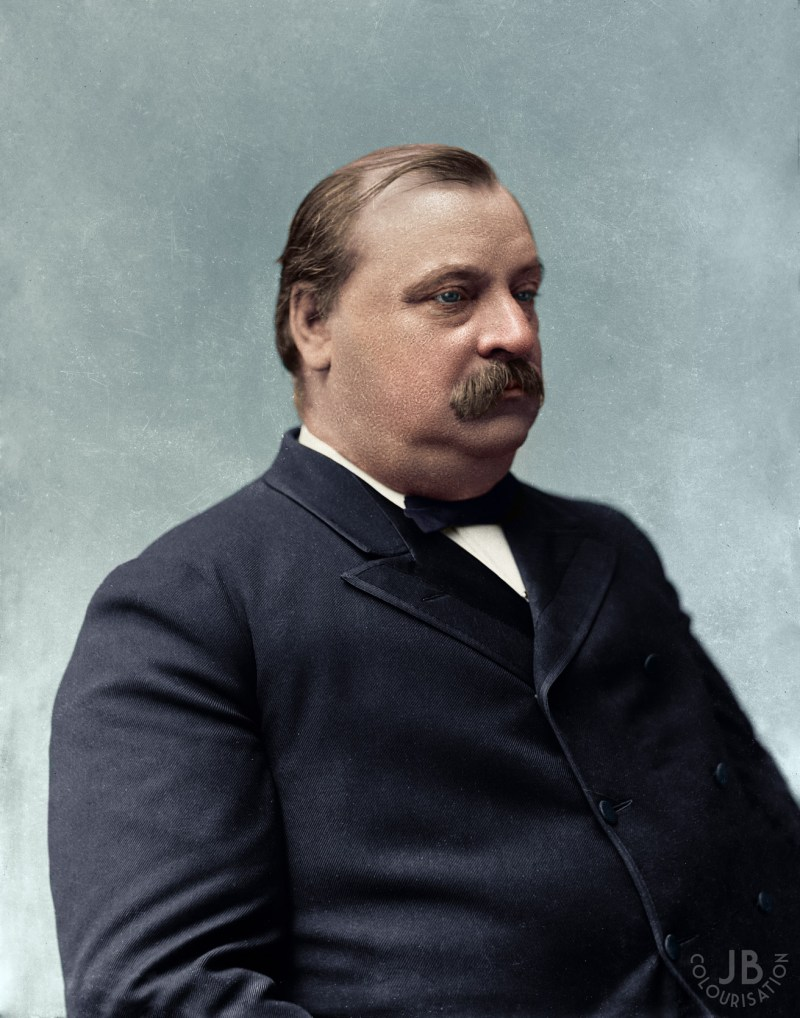 President Grove Cleveland sitting for a portrait of himself. He is in color as the photo has been colorized.