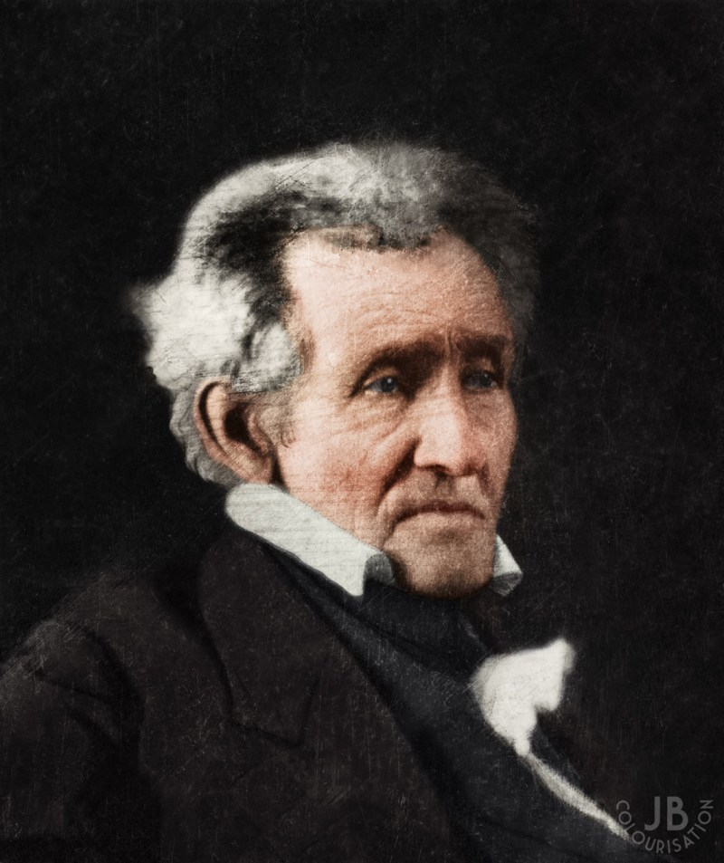 a colorized photograph side portrait of former President Andrew Jackson.