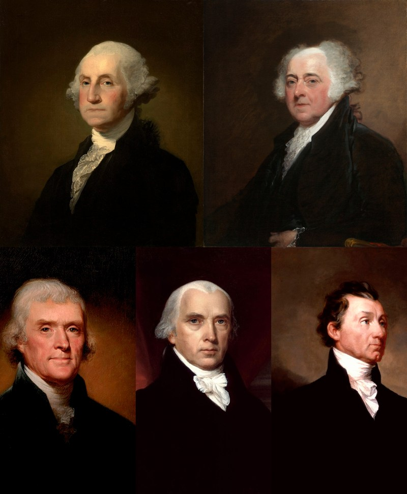 Portrait paintings of US Presidents George Washington, John Adams, Thomas Jefferson, James Madison, and James Monroe