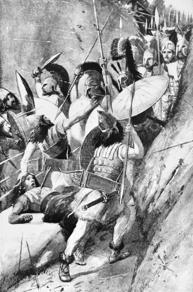 Soldiers battling each other during the battle of thermopylae
