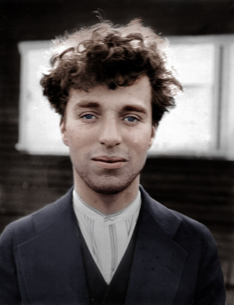 Charlie Chaplin in color through the process of colorization. He is not wearing makeup in this photo and was about 27 years old when it was taken (in 1916)