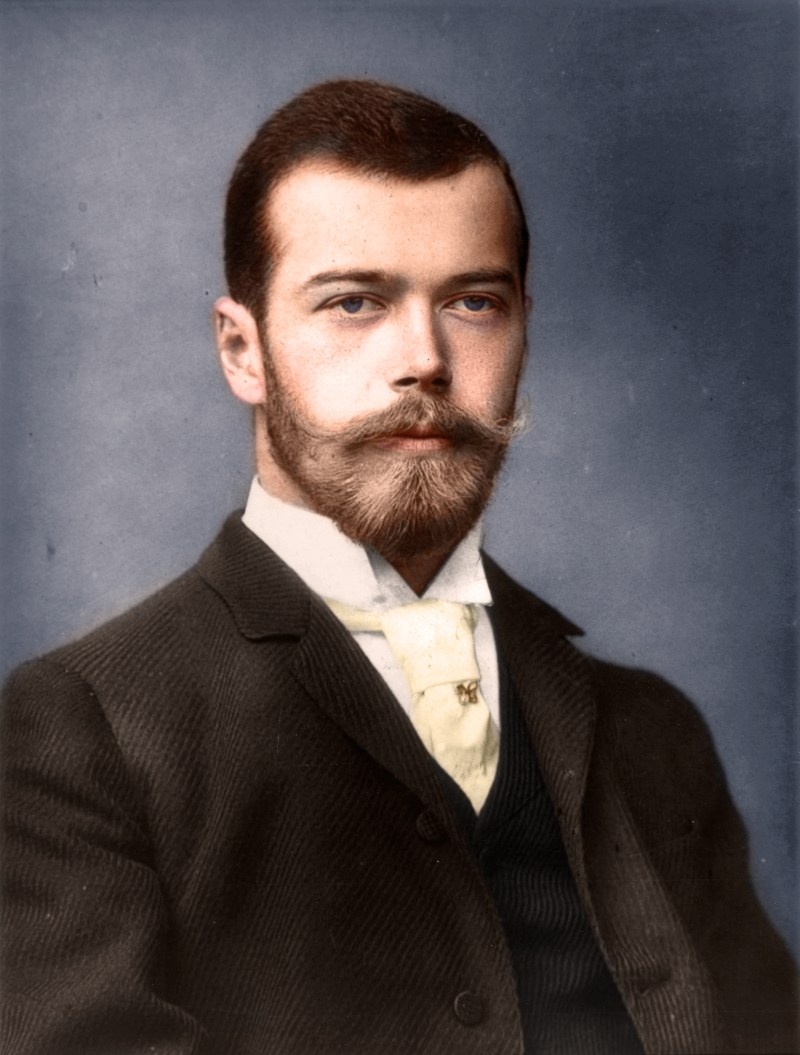 Color photo of Tsar Nicholas II of Russia in 1893, before he became the last emperor of the Russian Empire. This was taken at the wedding of George and Mary of the United Kingdom on the 6th July 1893.