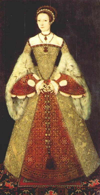 Example of a tudor woman, Catherine Parr, wearing a Spanish farthingale.