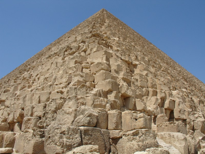 The edge of the Great Pyramid of Giza in Cairo, Egypt