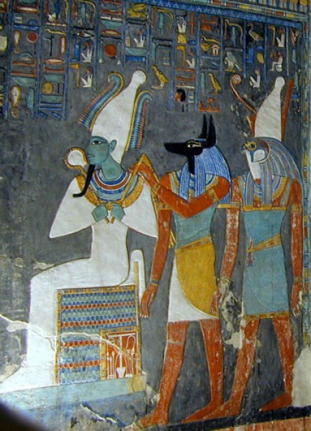 Three deities that were worshipped in Egypt: Osiris, Anubis, and Horus