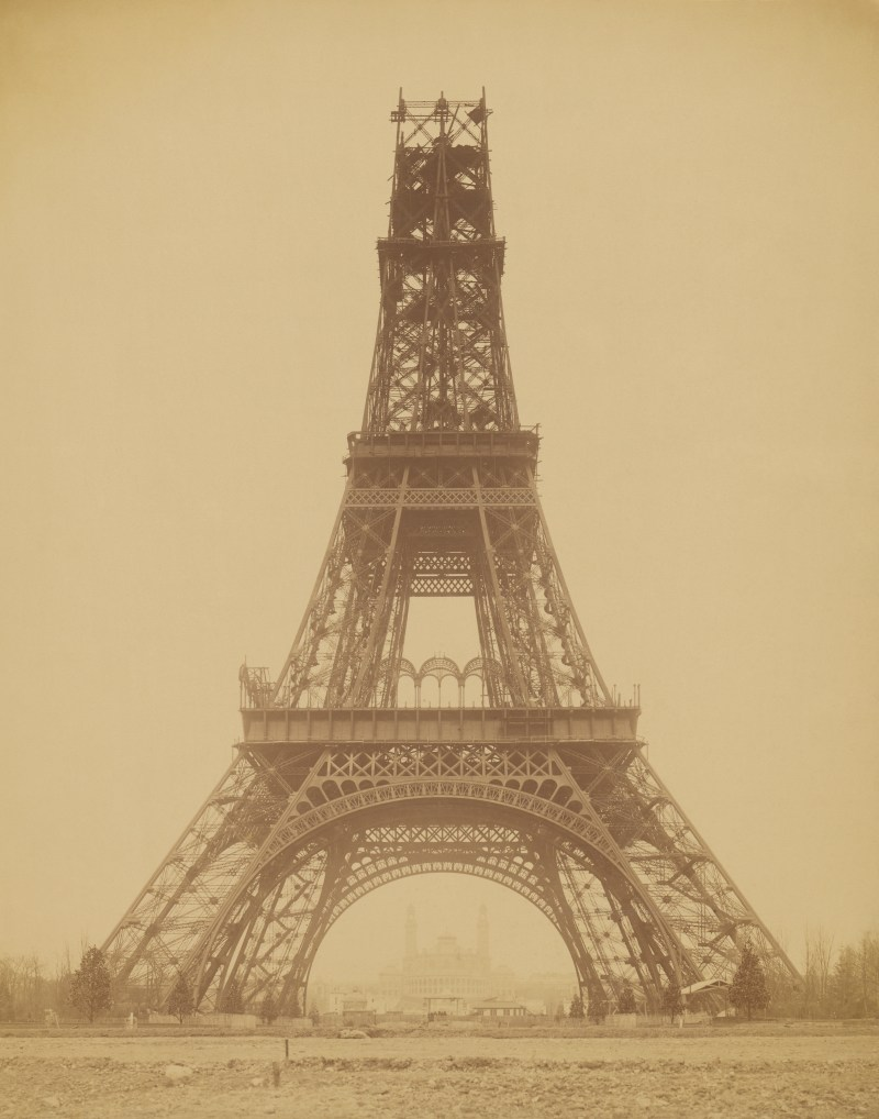 The metal Eiffel tower during its construction in Paris in 1888